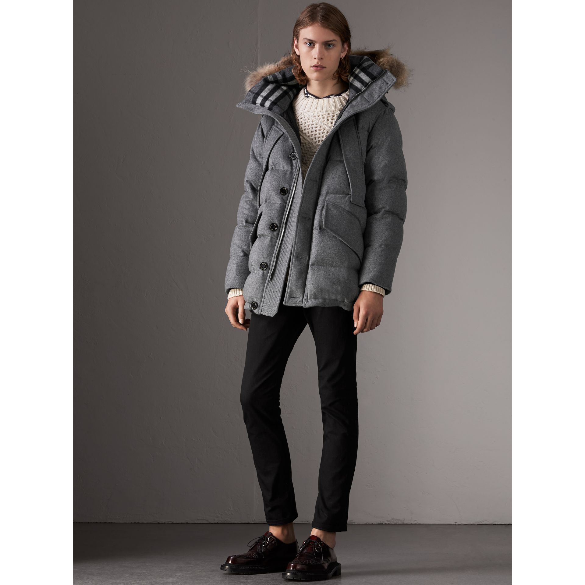 Down-filled Cashmere Hooded Parka in Mid Grey Melange - Men | Burberry - gallery image 5
