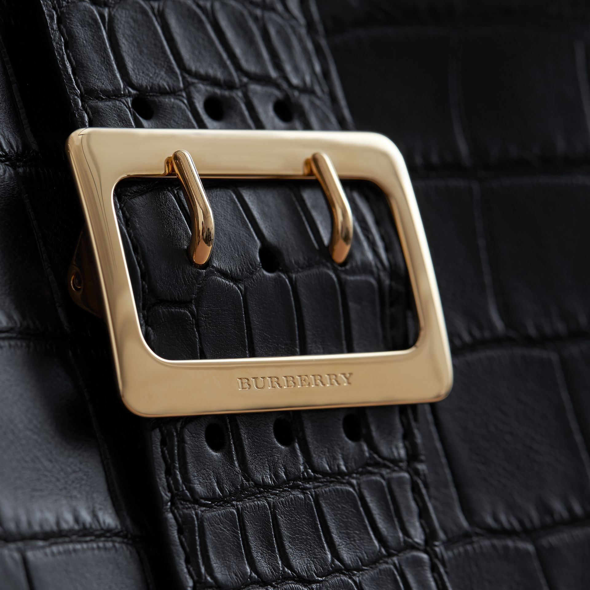 The Medium Buckle Tote in Alligator in Black - Women | Burberry - gallery image 1