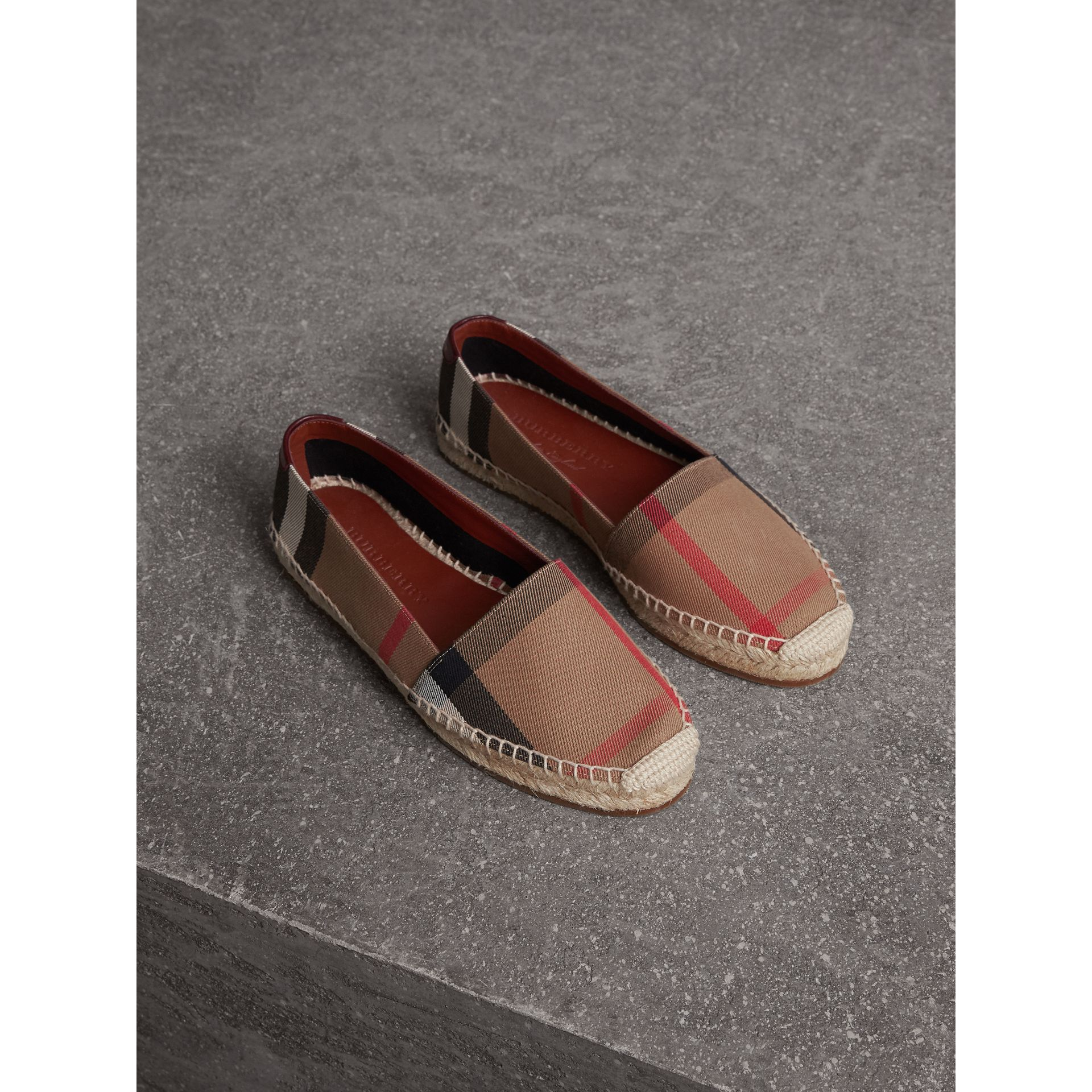 Check Linen Cotton Espadrilles in Dark Tan - Women | Burberry - gallery image 1