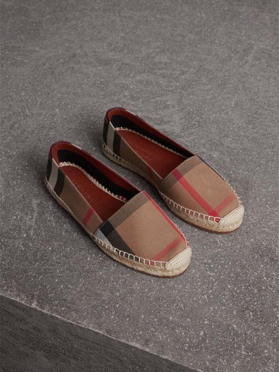 Check Linen Cotton Espadrilles in Dark Tan - Women | Burberry