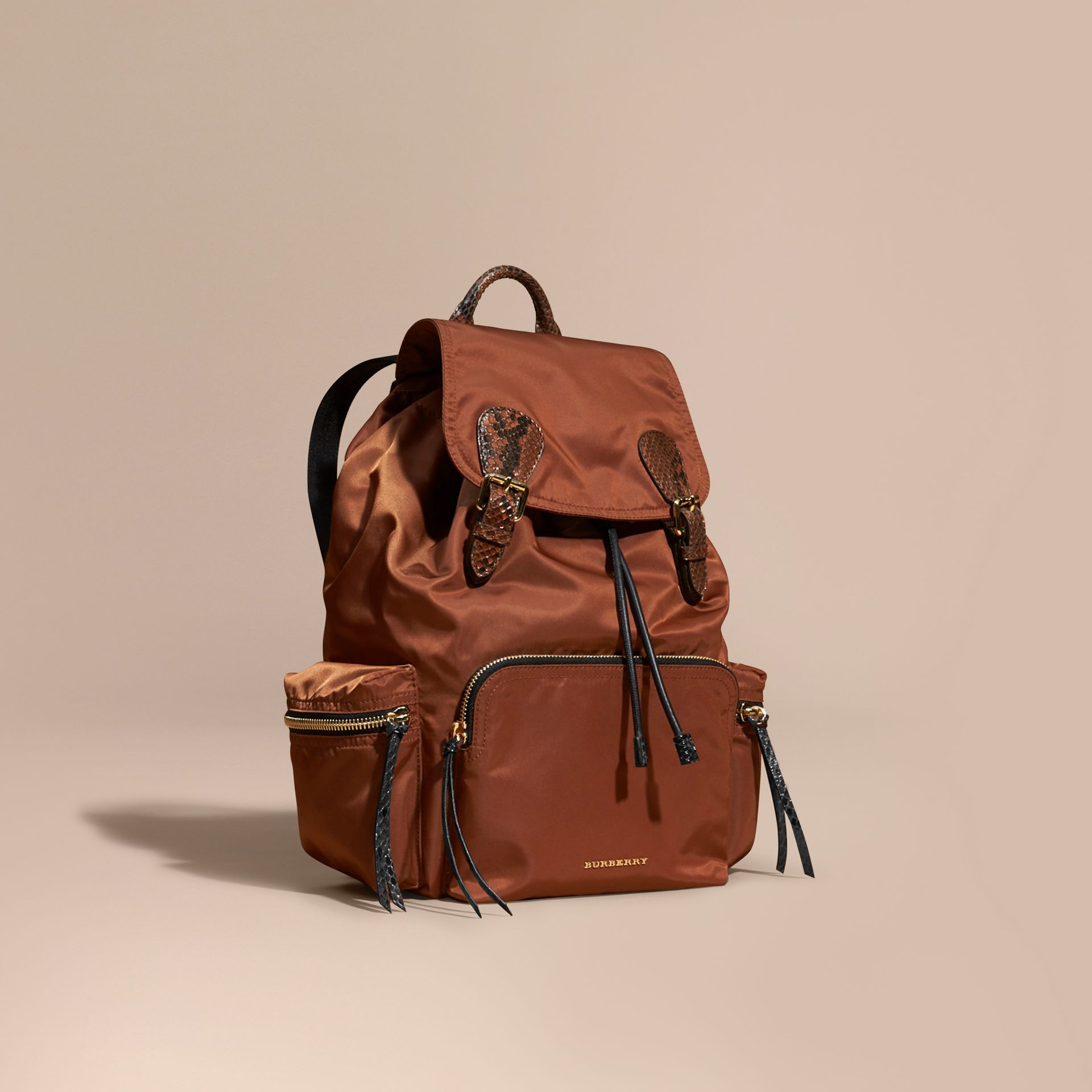The Large Rucksack in Technical Nylon and Snakeskin in Redwood/tan - gallery image 1