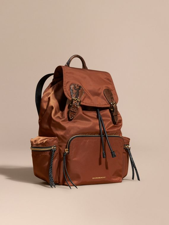 The Large Rucksack in Technical Nylon and Snakeskin in Redwood/tan