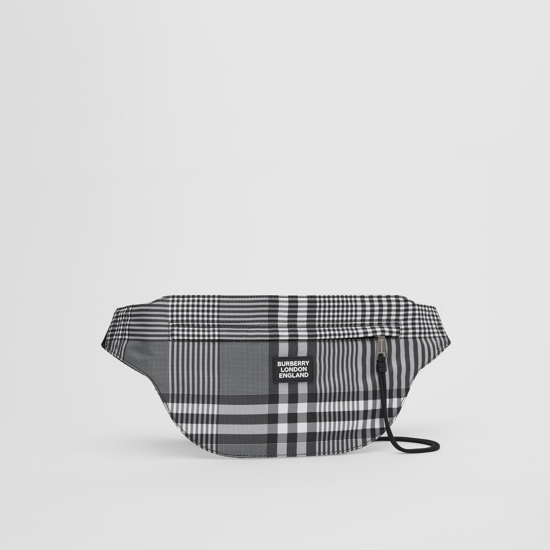 Logo Appliqué Check Brummell Bum Bag in Black/white - Men | Burberry United States - gallery image 4