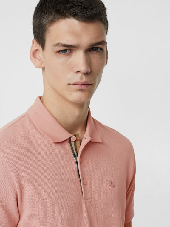 Check Placket Cotton Polo Shirt in Chalk Pink