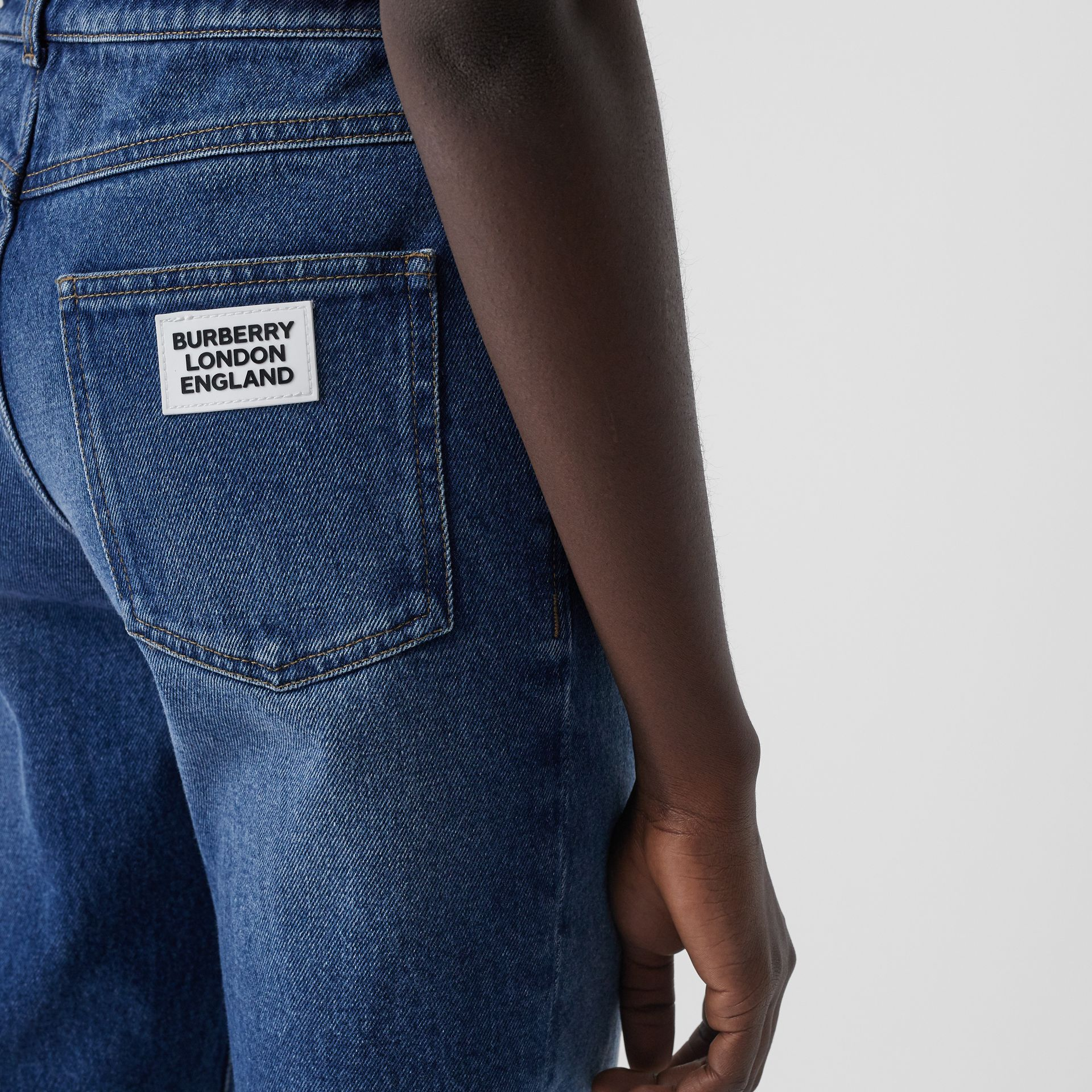 Straight Fit Logo Detail Jeans in Indigo - Women | Burberry - gallery image 1