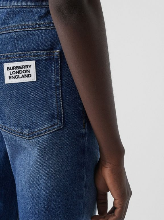 Straight Fit Logo Detail Jeans in Indigo - Women | Burberry United Kingdom - cell image 1