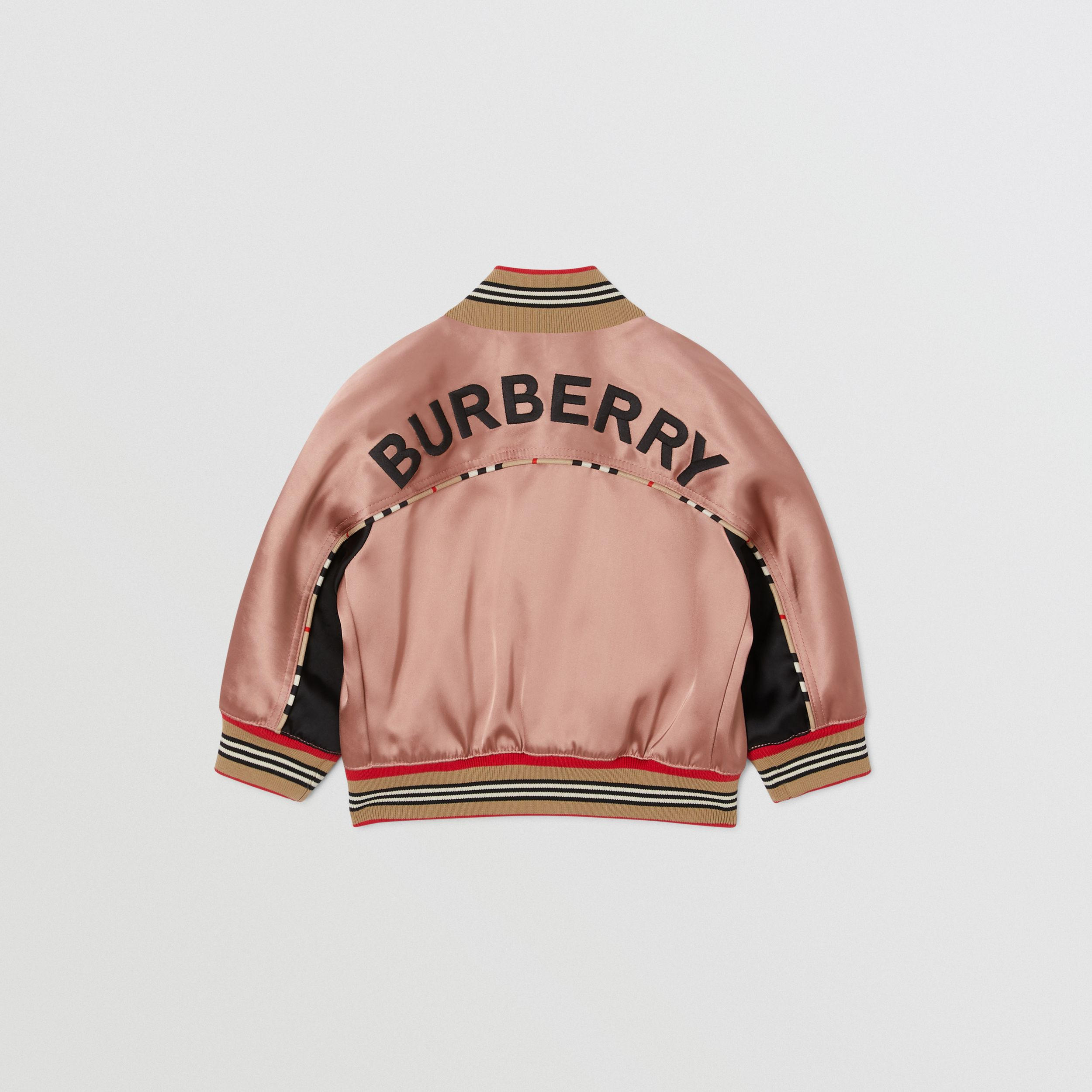 Deer Motif Sateen Bomber Jacket in Dusty Pink - Children | Burberry - 4