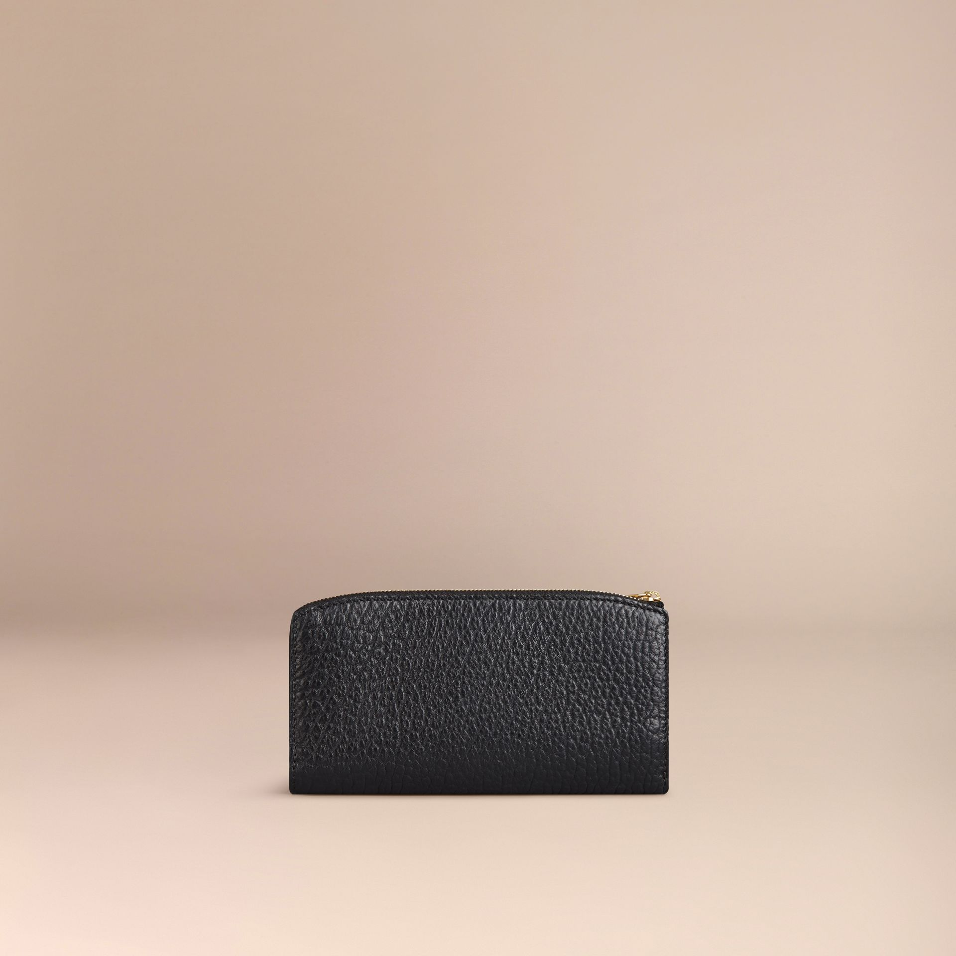Black Signature Grain Leather Ziparound Wallet Black - gallery image 3