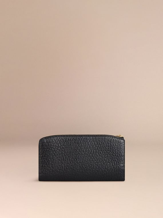 Black Signature Grain Leather Ziparound Wallet Black - cell image 2