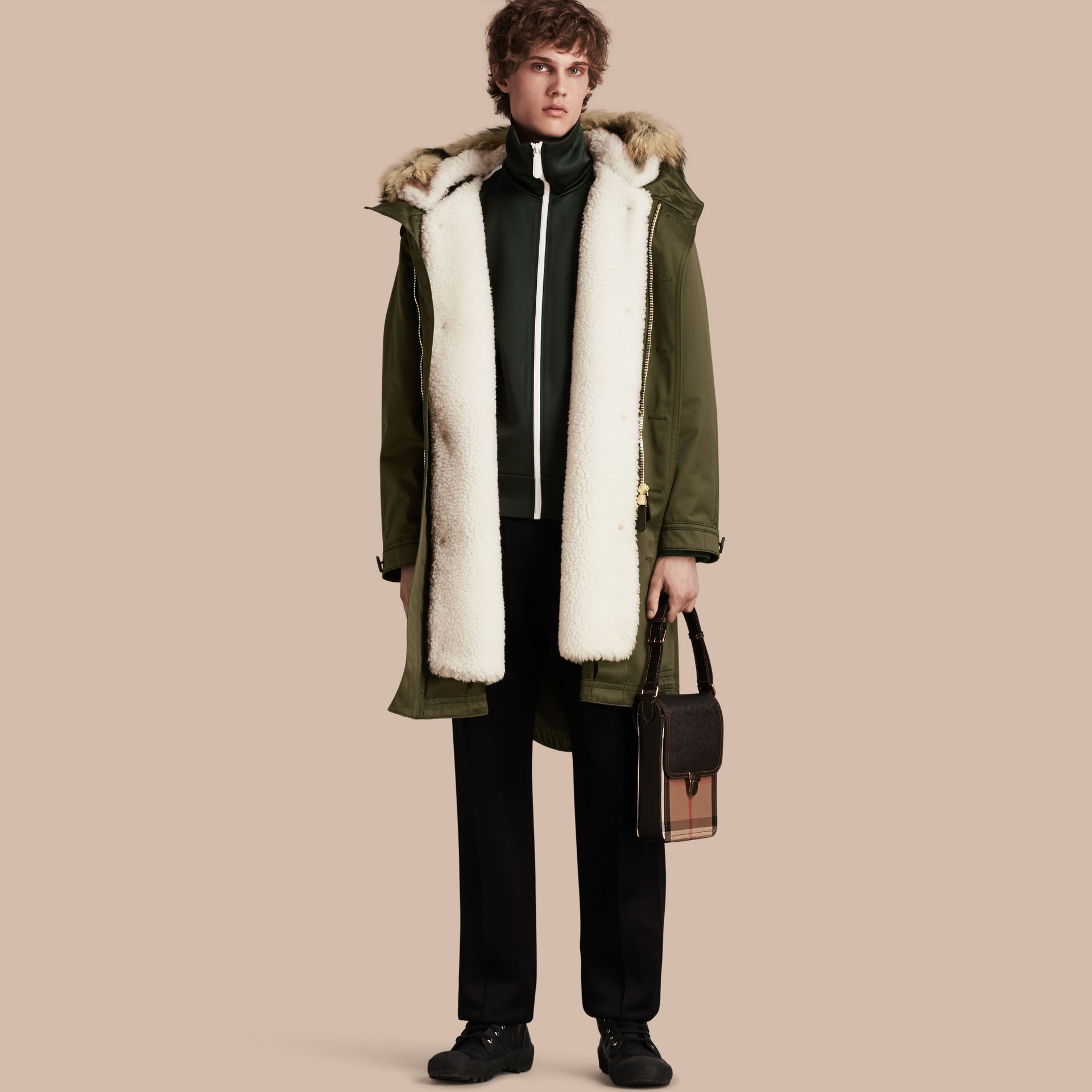 Military green Shearling Lined Cotton Canvas Parka - gallery image 1