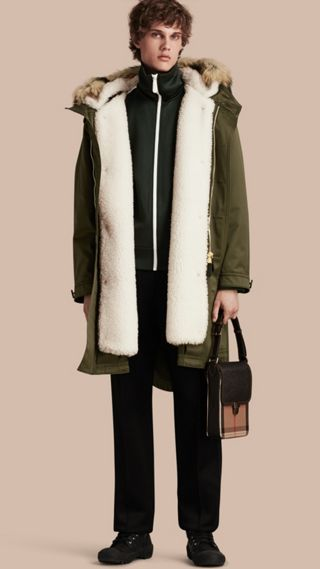 Shearling Lined Cotton Canvas Parka