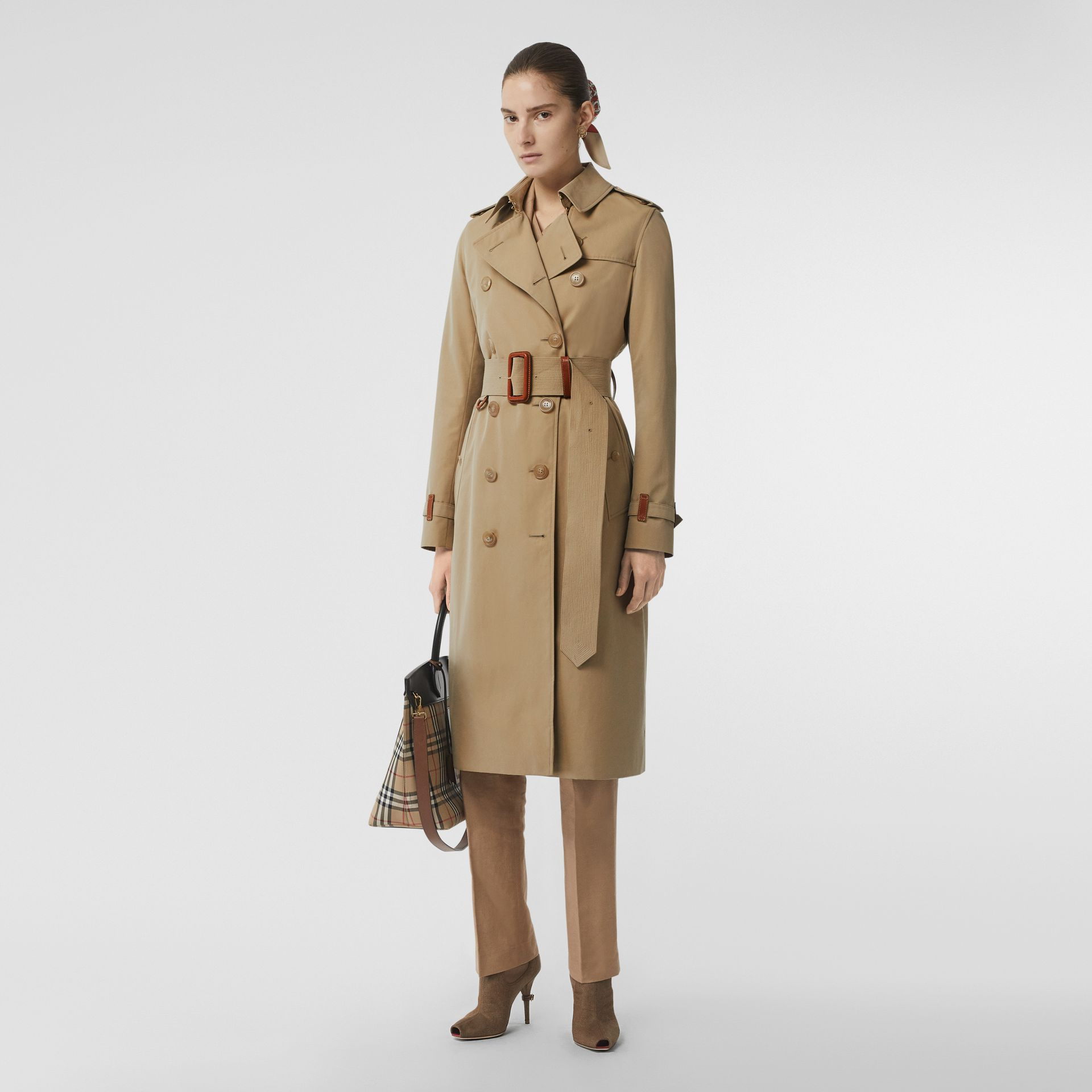 Leather Detail Cotton Gabardine Trench Coat in Honey - Women | Burberry Australia - gallery image 0