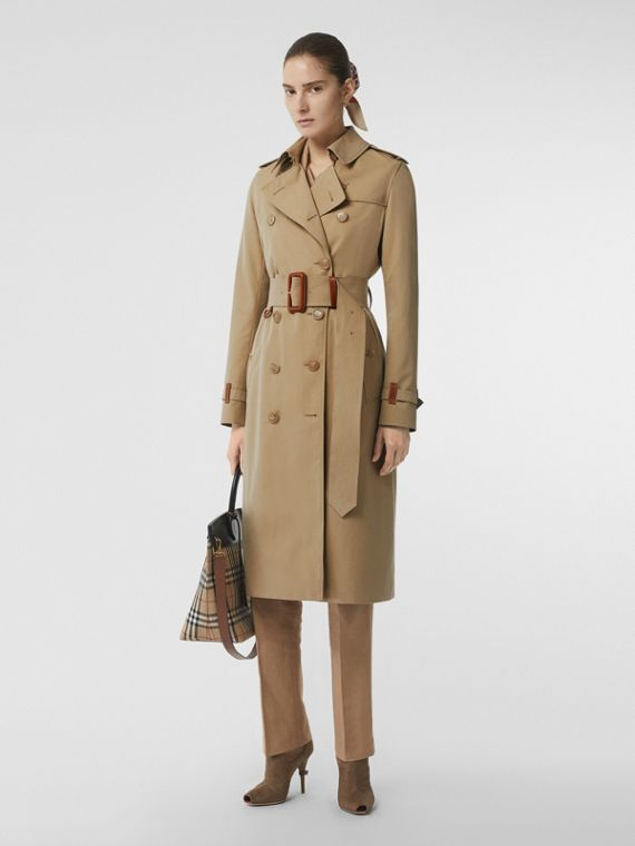 Leather Detail Cotton Gabardine Trench Coat in Honey