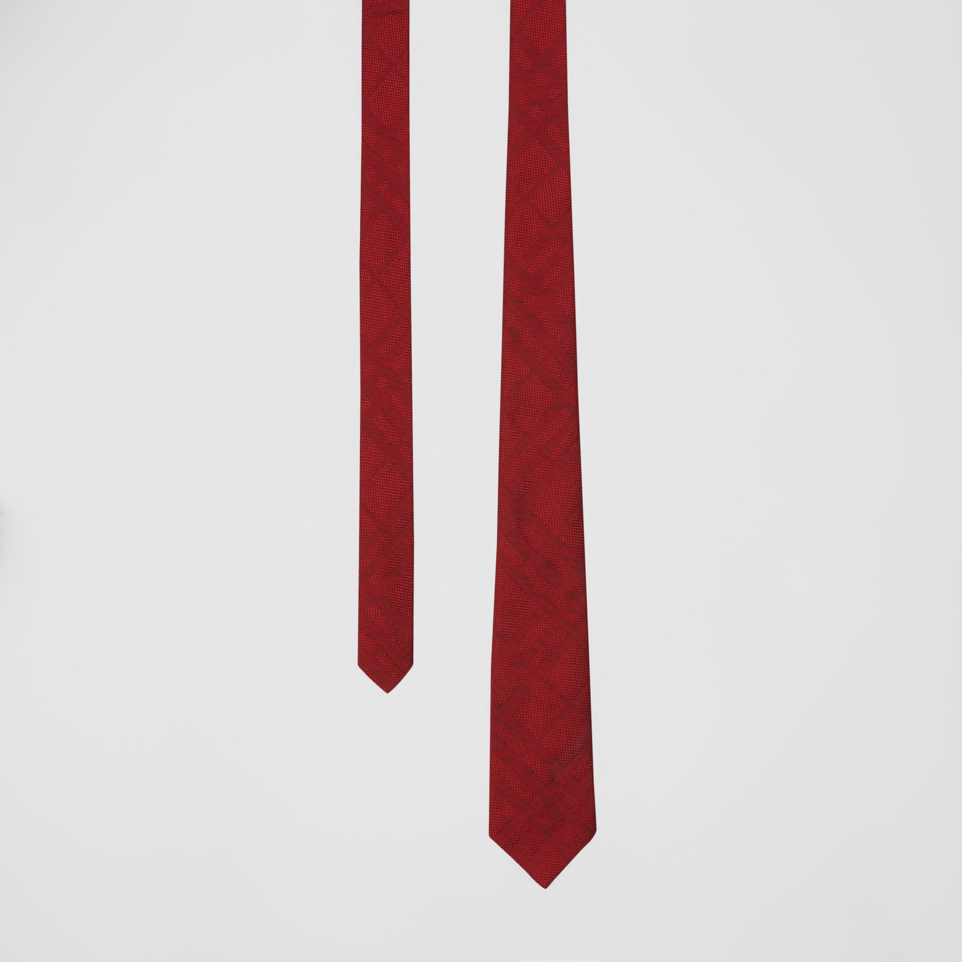 Classic Cut Check Silk Jacquard Tie in Deep Red - Men | Burberry - gallery image 0