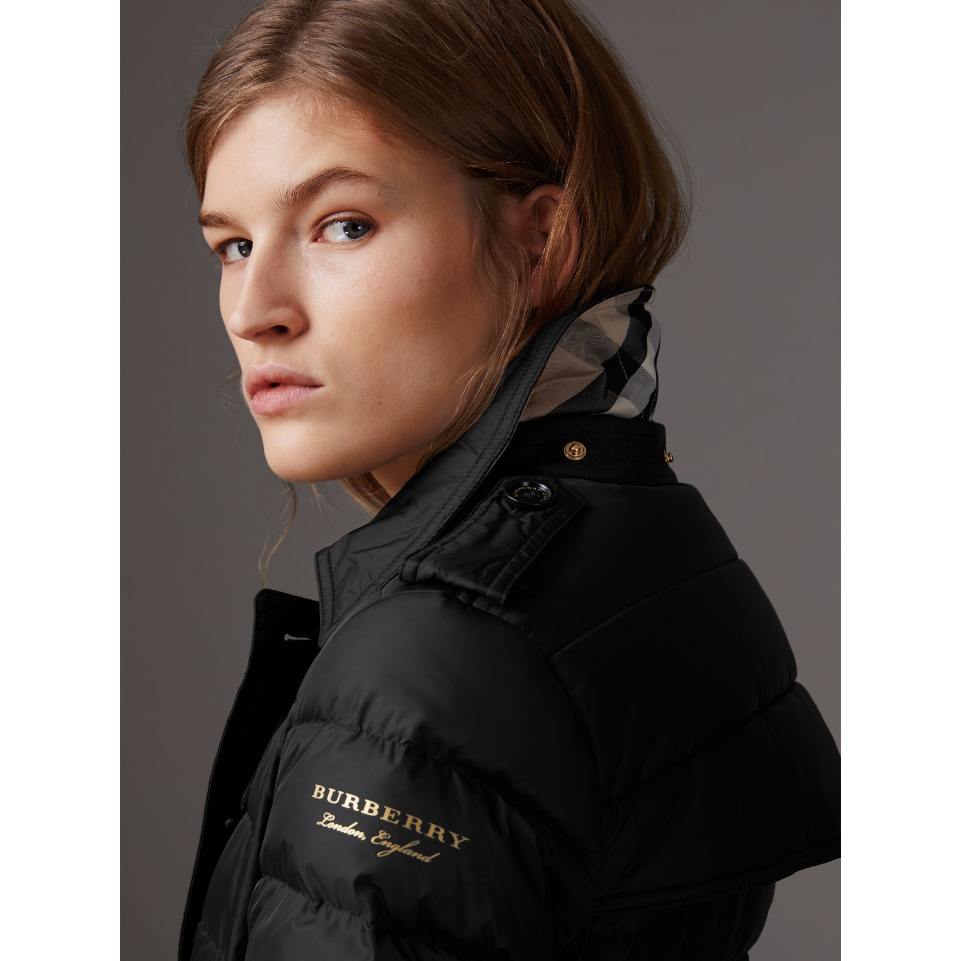 Detachable Hood Fur Trim Down-filled Puffer Coat in Black - Women | Burberry United States - gallery image 1