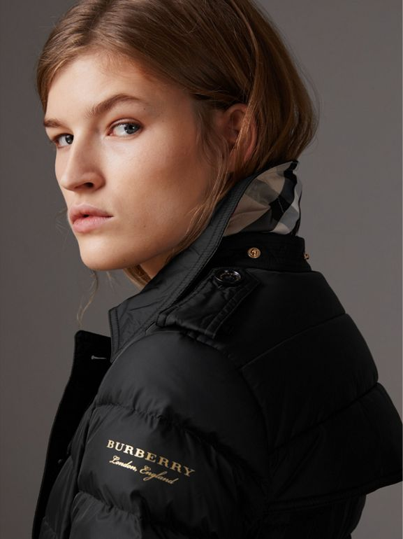 Detachable Hood Fur Trim Down-filled Puffer Coat in Black - Women | Burberry United States - cell image 1