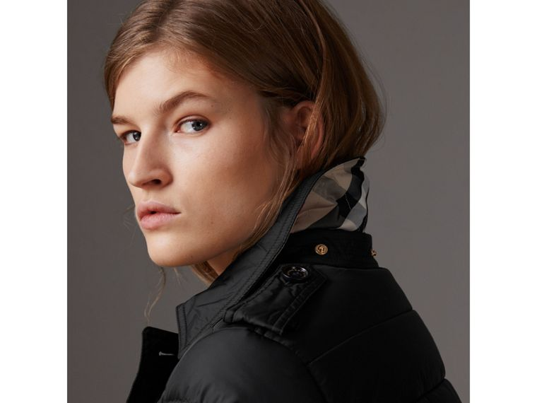 Detachable Hood Fur Trim Down-filled Puffer Coat in Black - Women | Burberry Singapore - cell image 1