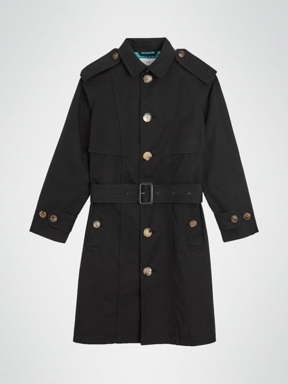 Trench coat in gabardine tropicale con profili (Nero)