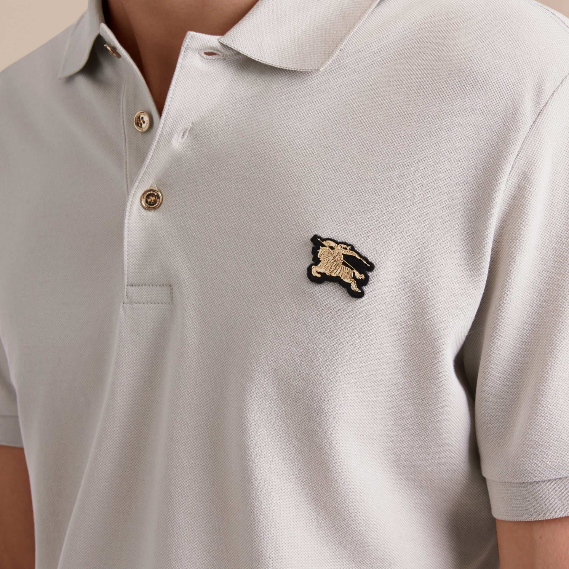 Fitted Mercerised Cotton-Piqué Polo Shirt Pale Stone - gallery image 5