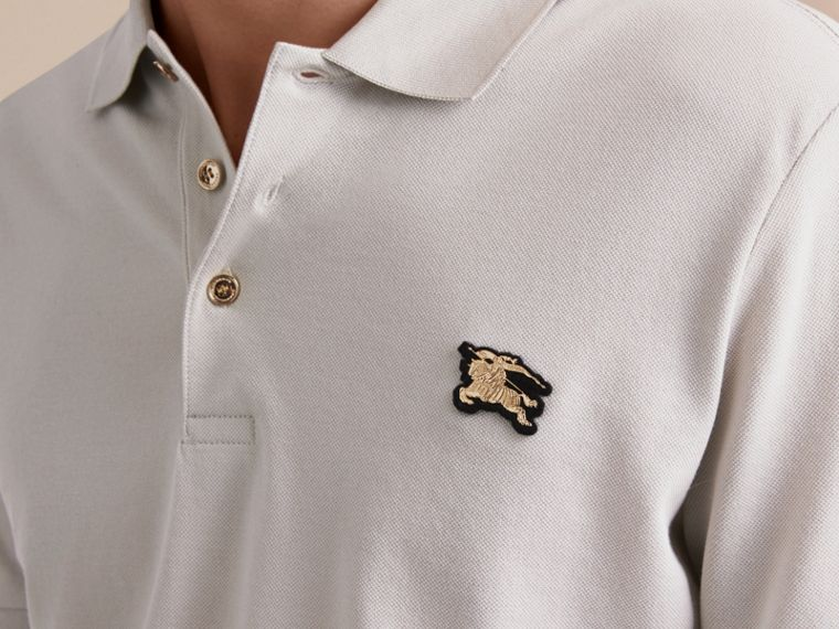 Fitted Mercerised Cotton-Piqué Polo Shirt Pale Stone - cell image 4
