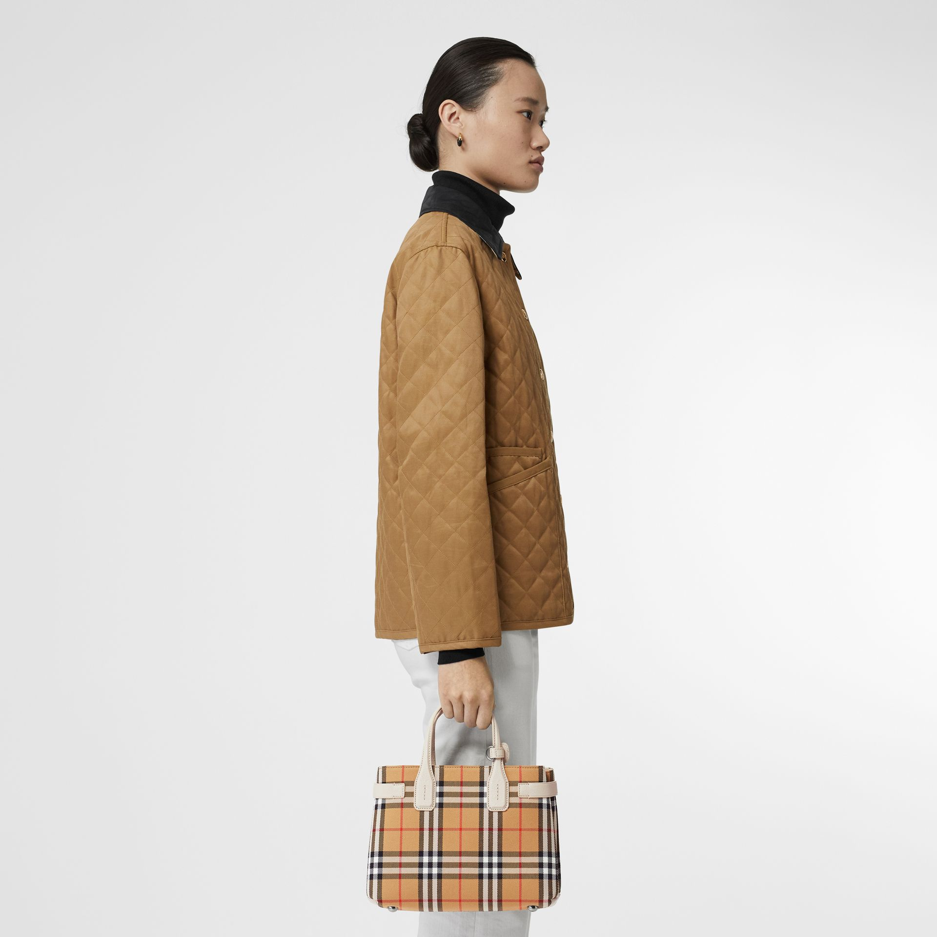 The Small Banner in Vintage Check and Leather in Limestone - Women | Burberry - gallery image 2