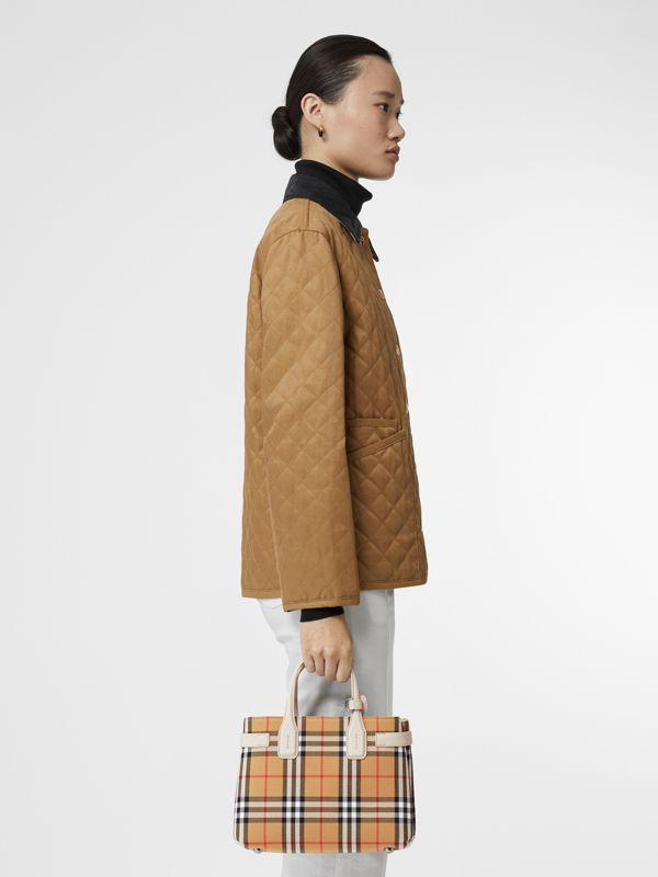 The Small Banner in Vintage Check and Leather in Limestone - Women | Burberry - cell image 2
