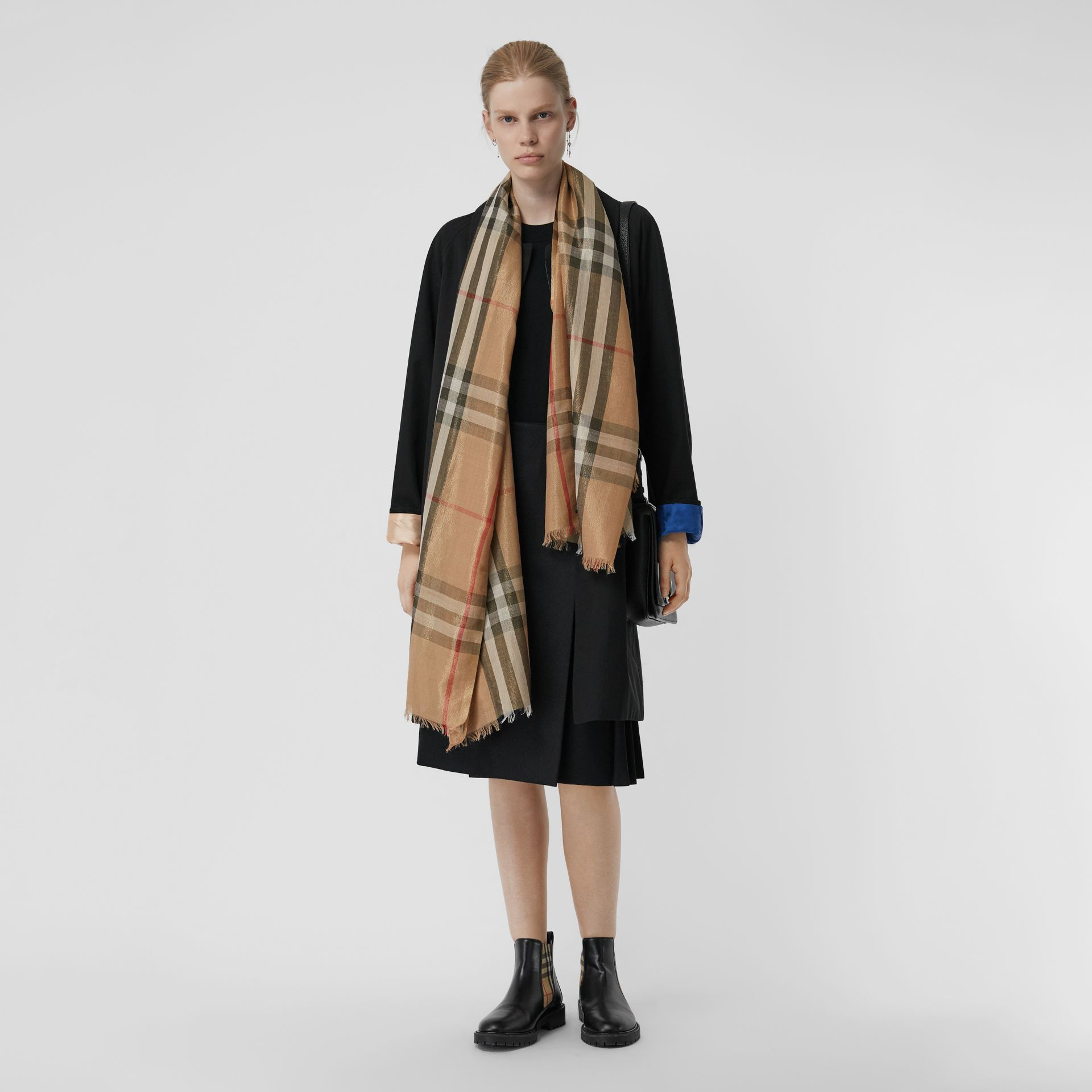 Metallic Check Silk and Wool Scarf in Camel/gold - Women | Burberry Canada - gallery image 2
