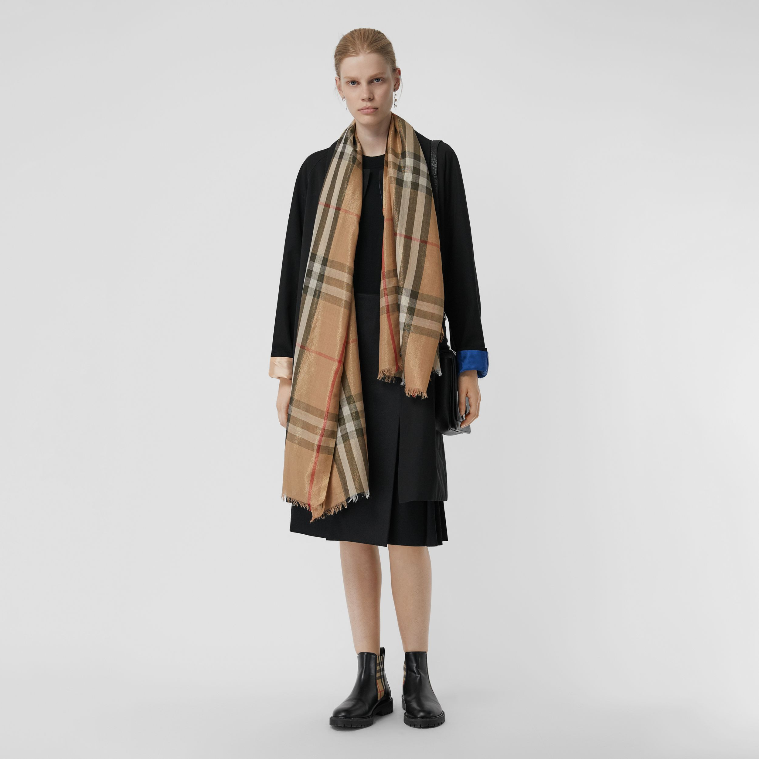 Metallic Check Silk and Wool Scarf in Camel/gold | Burberry United Kingdom - 3