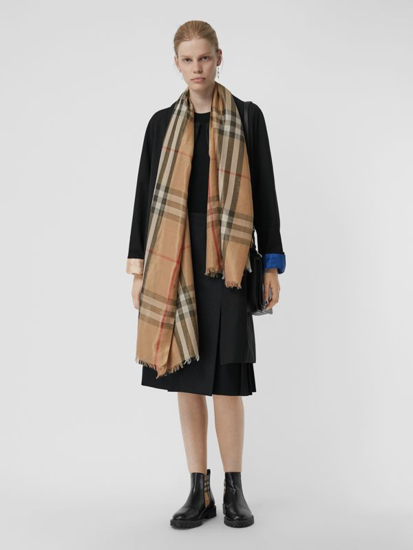 Metallic Check Silk and Wool Scarf in Camel/gold - Women | Burberry Canada - cell image 2