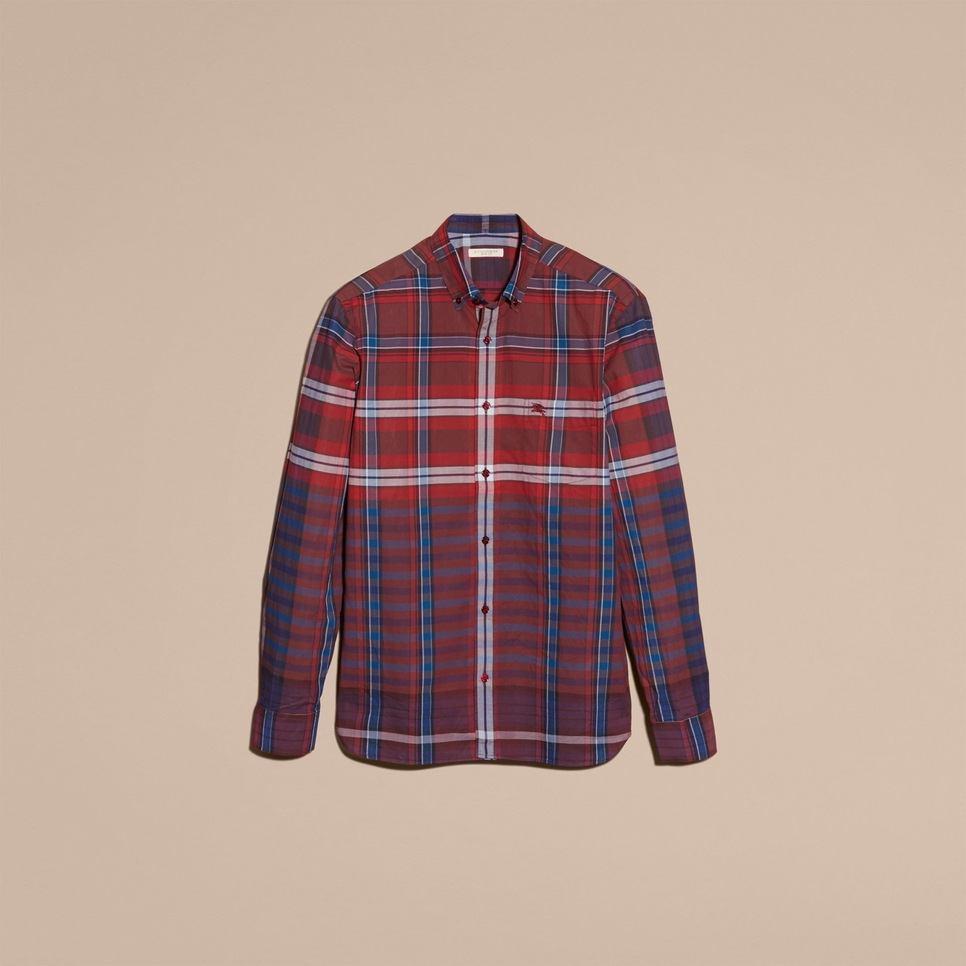Burgundy red Button-down Collar Check Cotton Shirt Burgundy Red - gallery image 4