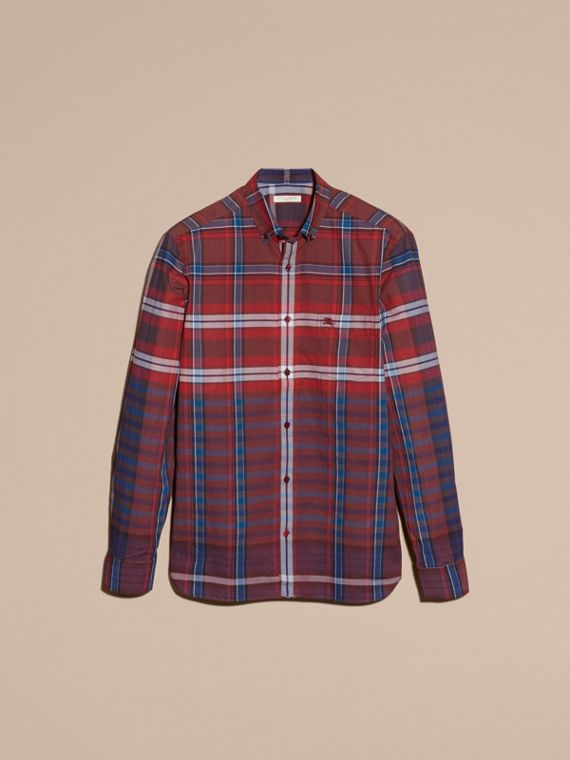 Burgundy red Button-down Collar Check Cotton Shirt Burgundy Red - cell image 3
