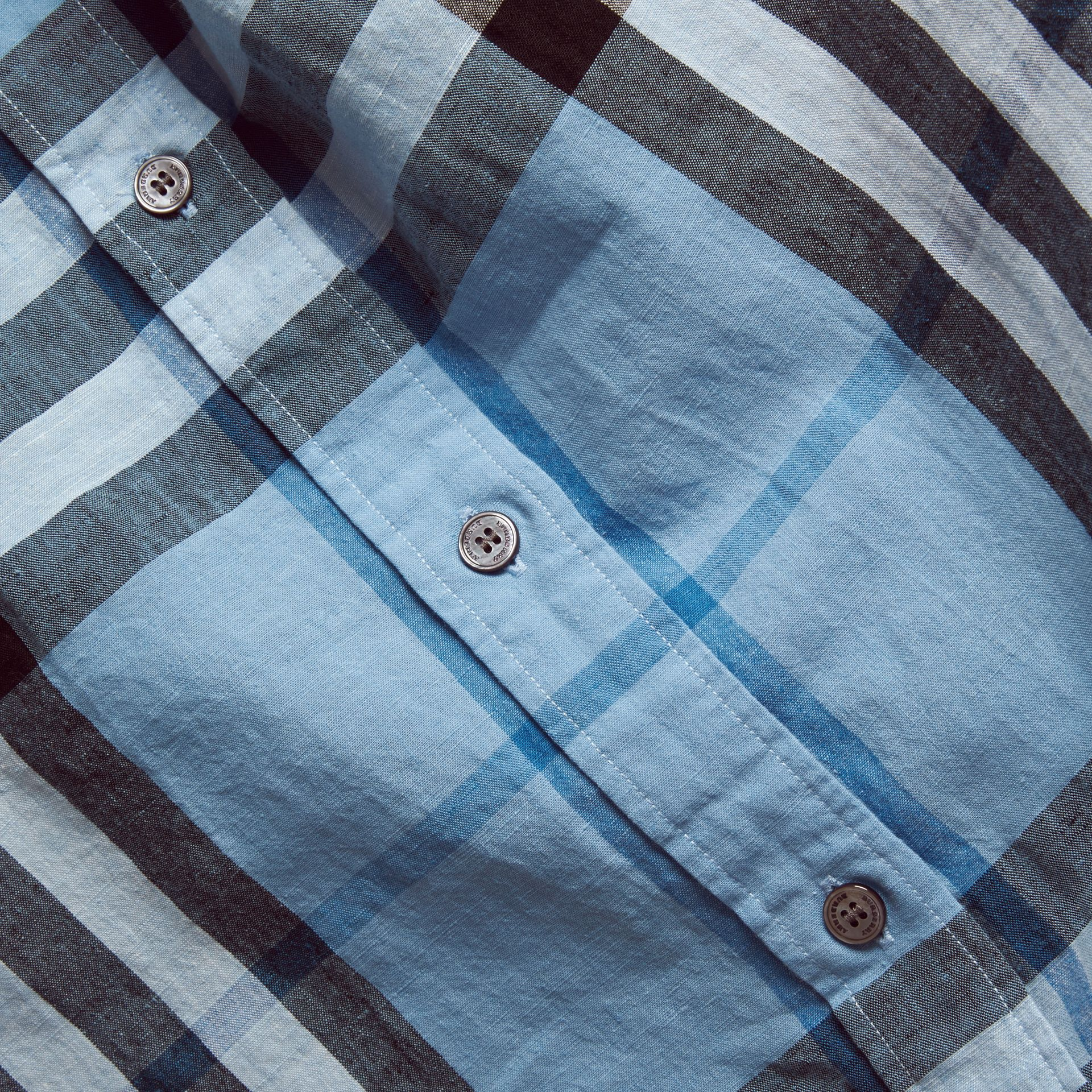 Button-down Collar Check Linen Cotton Shirt Pale Blue - gallery image 2