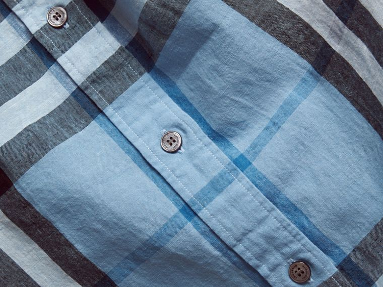 Button-down Collar Check Linen Cotton Shirt in Pale Blue - cell image 1