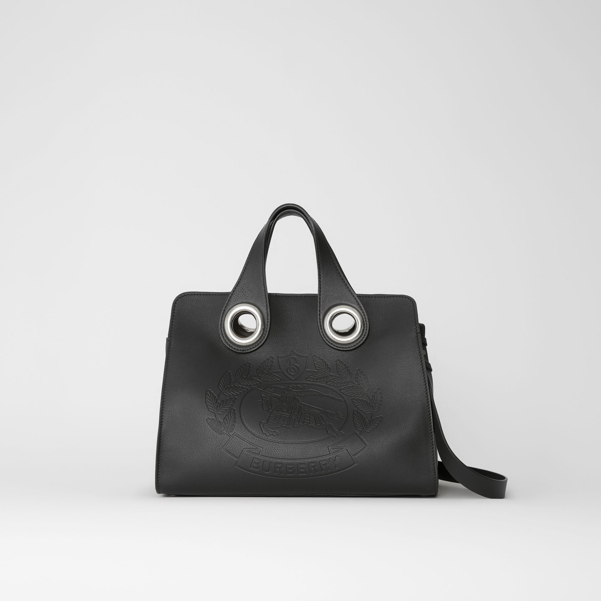 The Leather Crest Grommet Detail Tote in Black - Women | Burberry United States - gallery image 0