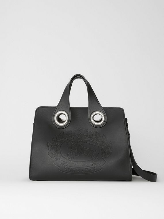 The Leather Crest Grommet Detail Tote in Black