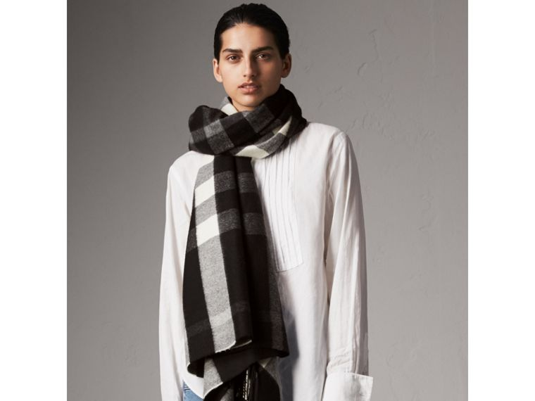 Check Cashmere and Wool Poncho in Black - Women | Burberry Australia - cell image 4
