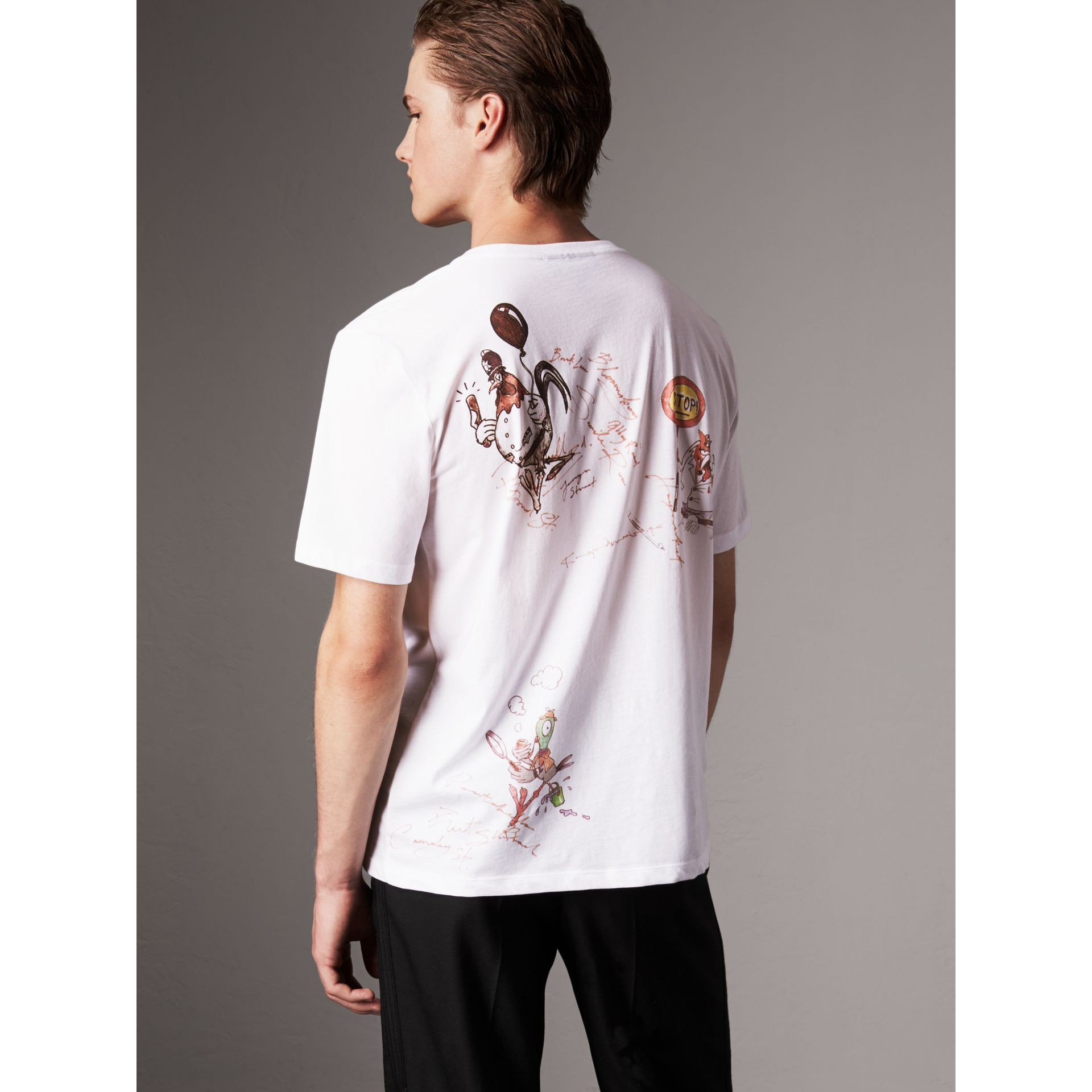 Sketch Print Cotton T-shirt in White - Men | Burberry - gallery image 3