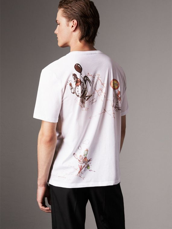 Sketch Print Cotton T-shirt in White - Men | Burberry - cell image 2
