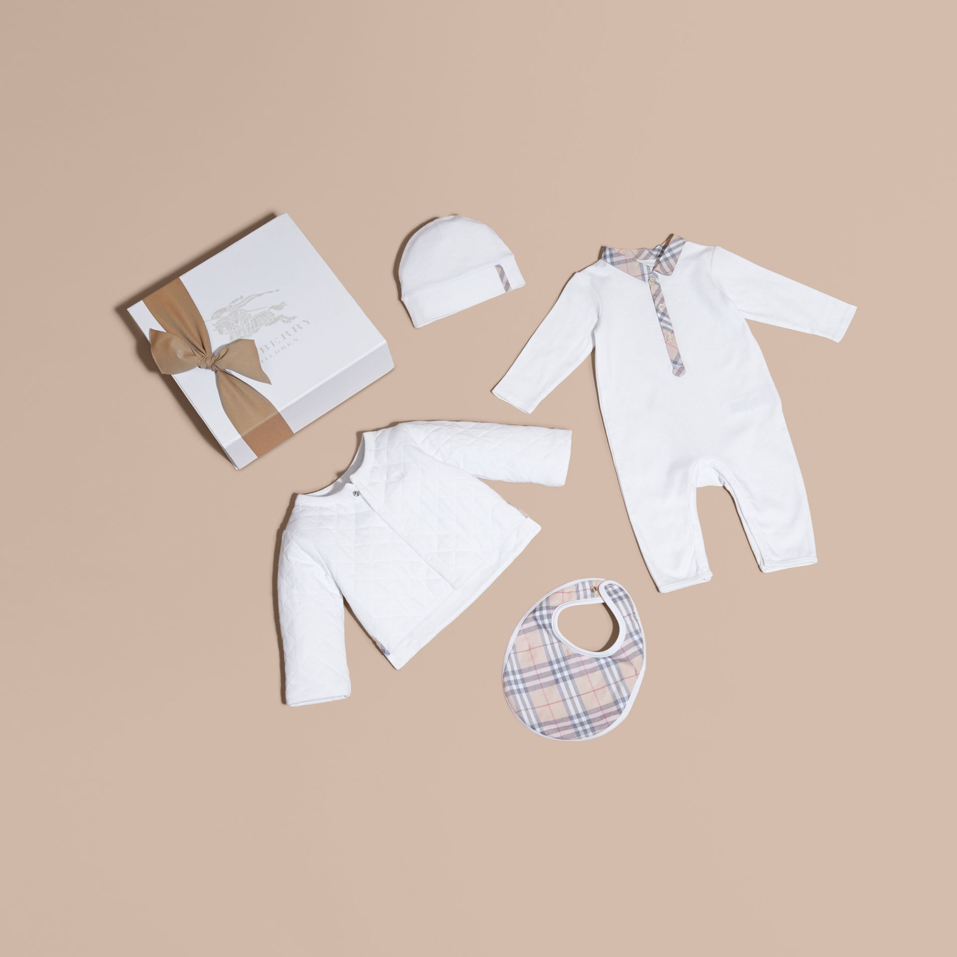 Check Detail Four-piece Baby Gift Set in White | Burberry Australia - gallery image 1