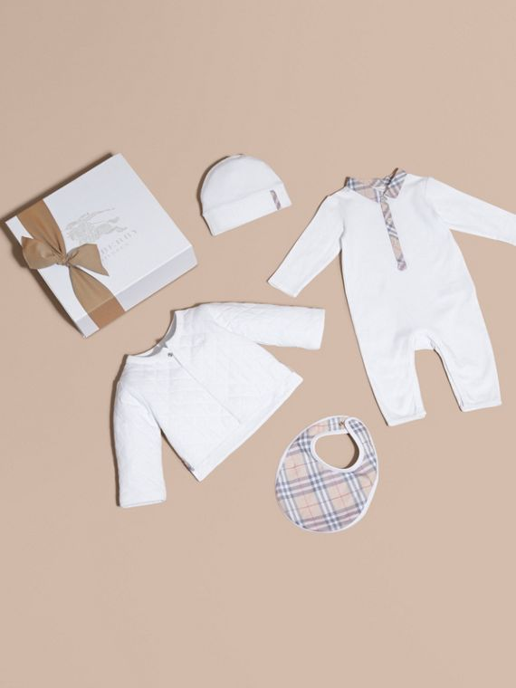 Check Detail Four-piece Baby Gift Set | Burberry Canada