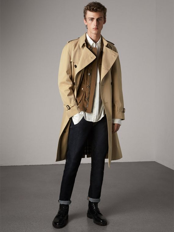 The Westminster - Trench coat Heritage longo (Mel) - Homens | Burberry