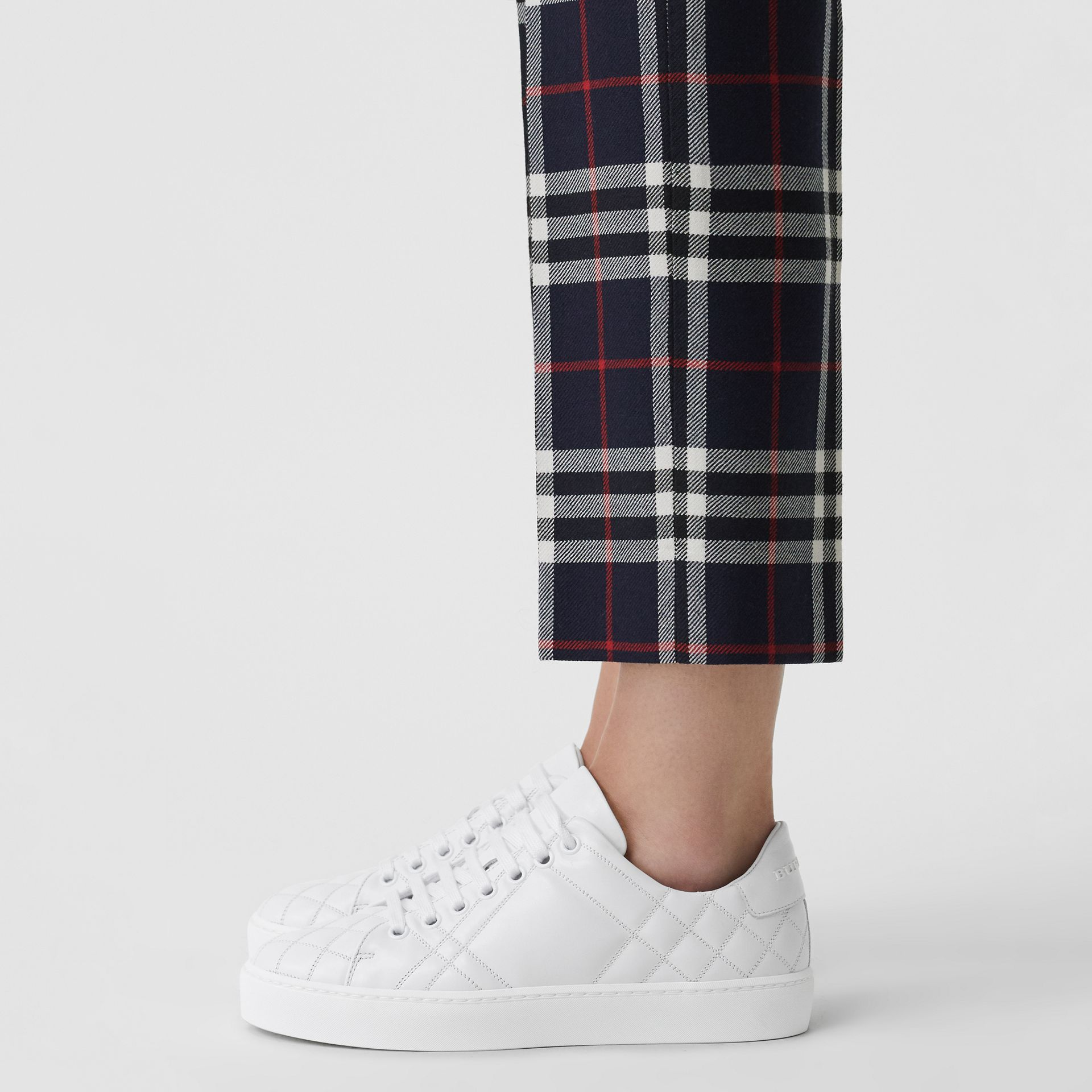 Check-quilted Leather Sneakers in Optic White - Women | Burberry - gallery image 2