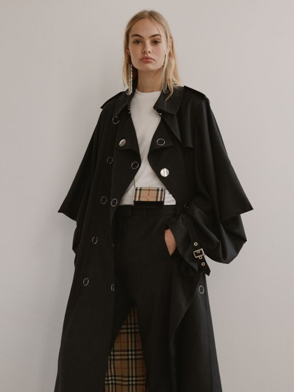 Cape-style Sleeve Cotton Gabardine Trench Coat in Black - Women | Burberry - cell image 1