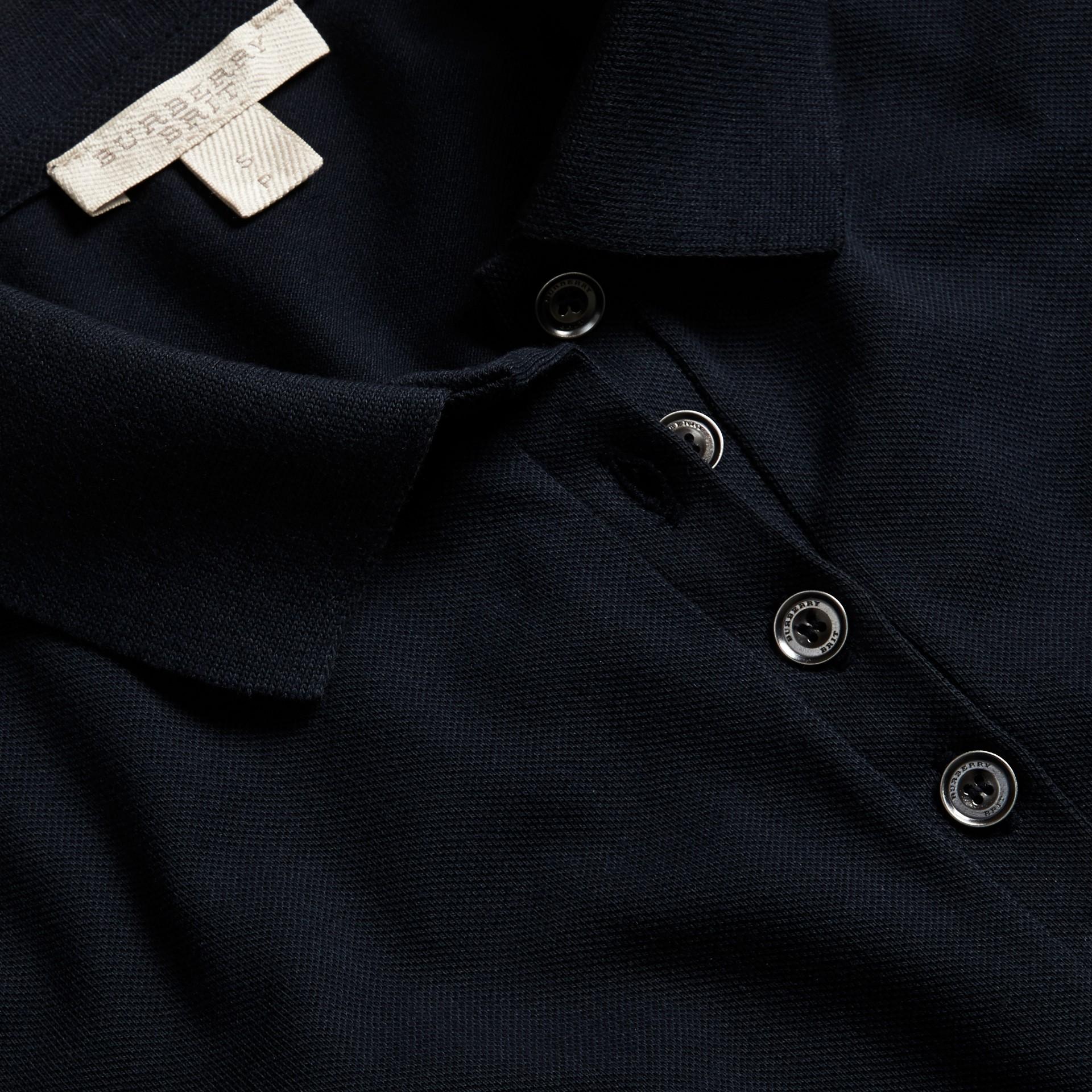 Navy Check Trim Stretch Cotton Piqué Polo Shirt Navy - gallery image 2