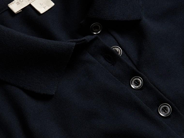 Navy Check Trim Stretch Cotton Piqué Polo Shirt Navy - cell image 1
