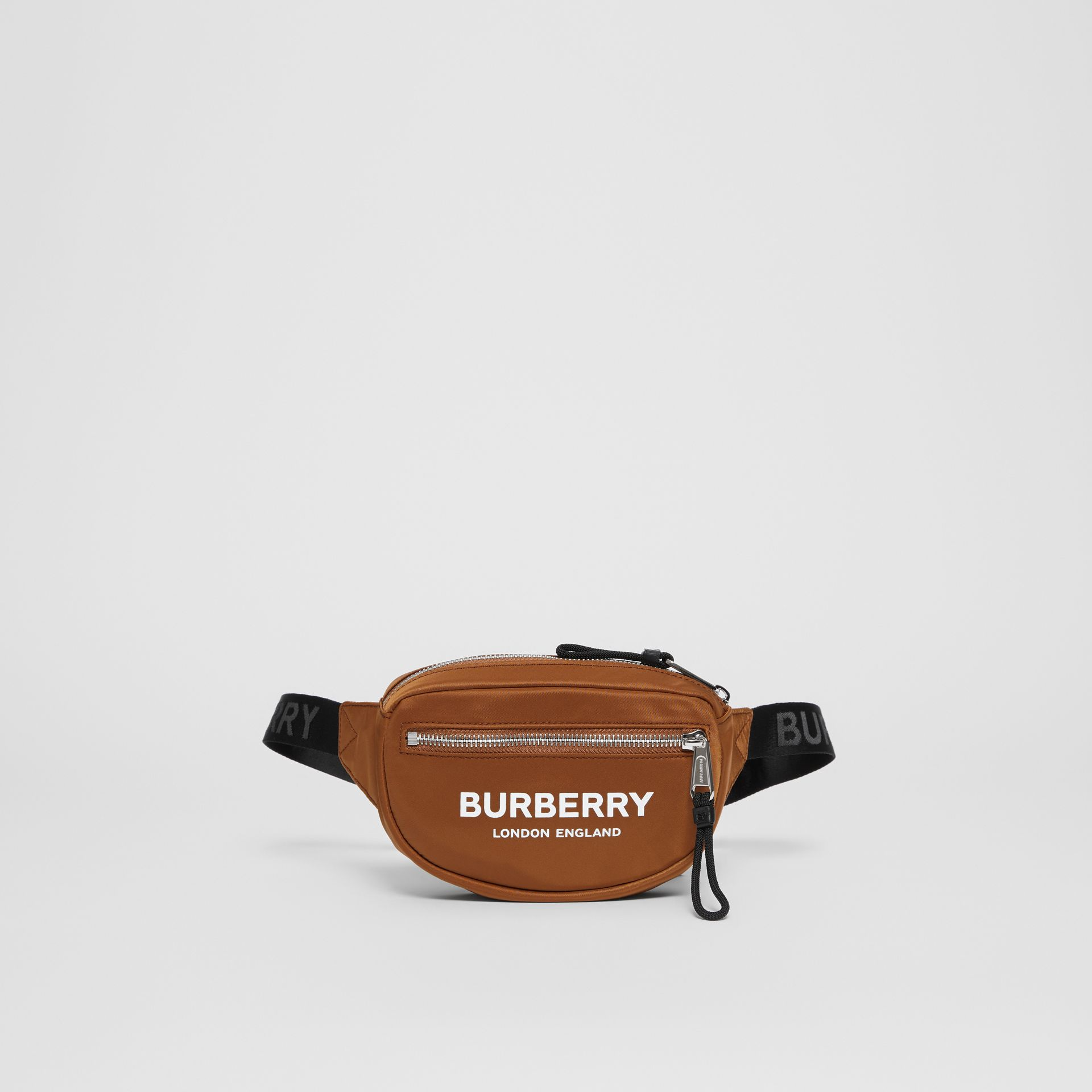 Mini Logo Print Bum Bag in Dark Camel | Burberry Canada - gallery image 0