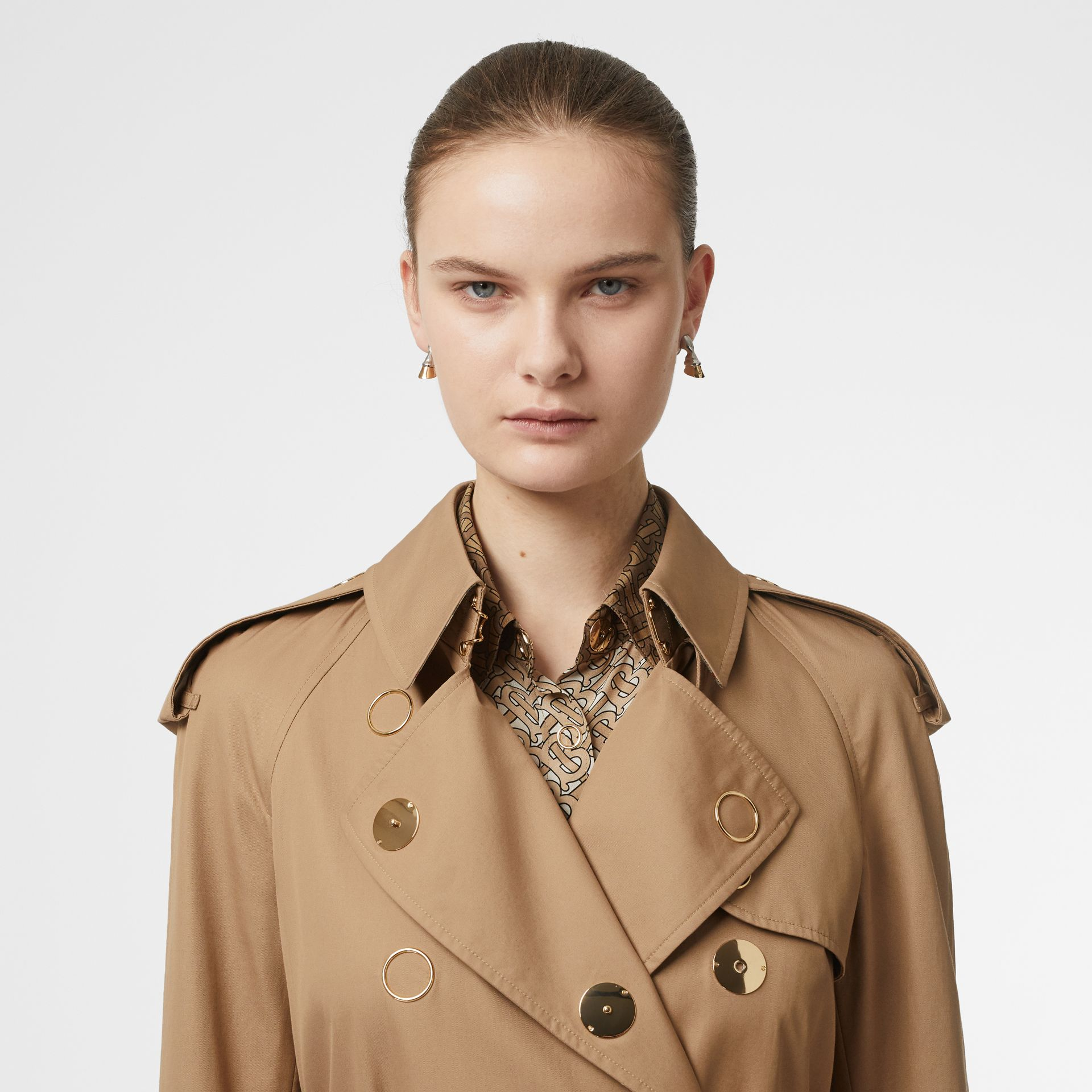 Press-stud Detail Cotton Gabardine Trench Coat in Driftwood - Women | Burberry - gallery image 8