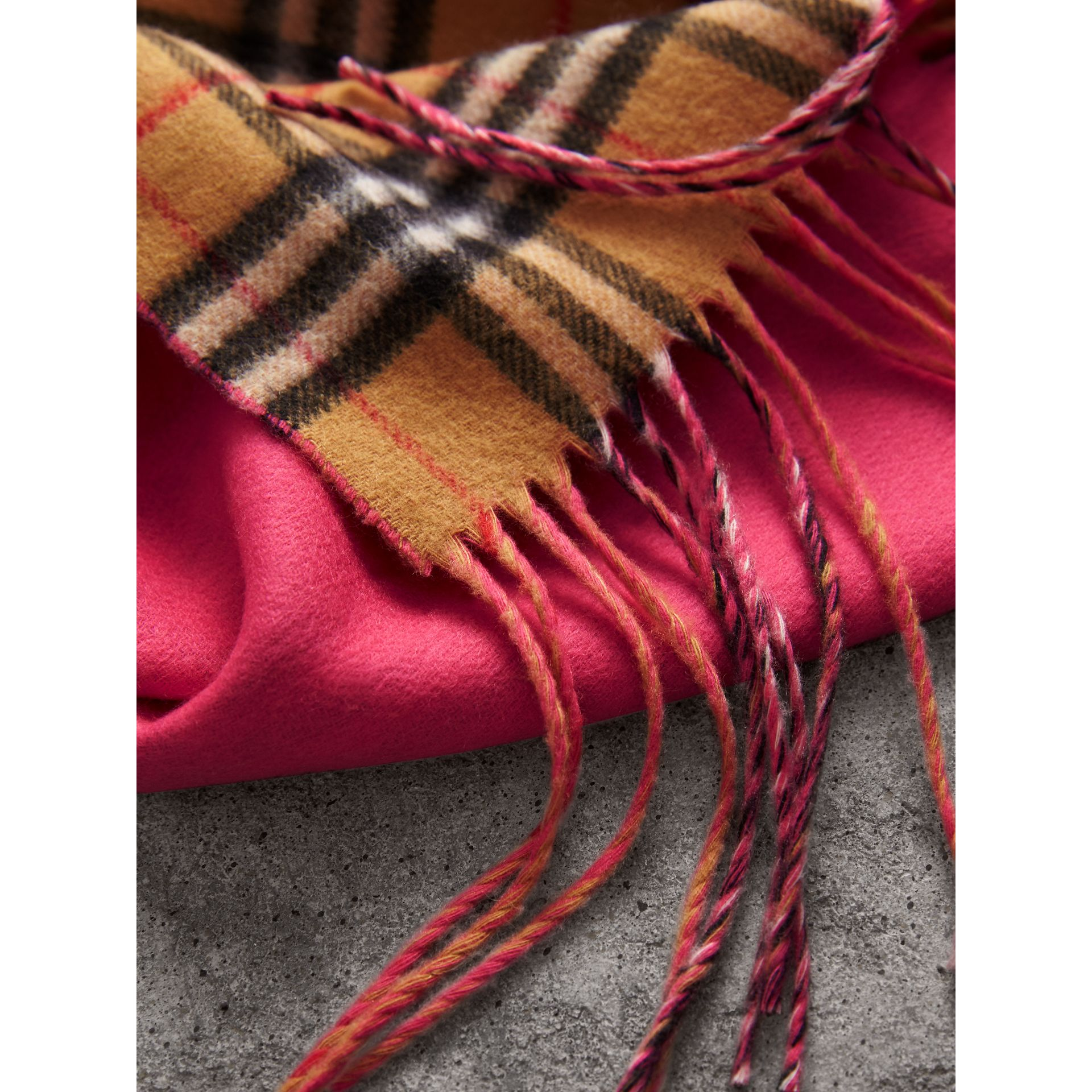 The Burberry Bandana in Vintage Check and Neon Cashmere in Bright Peony | Burberry United Kingdom - gallery image 1