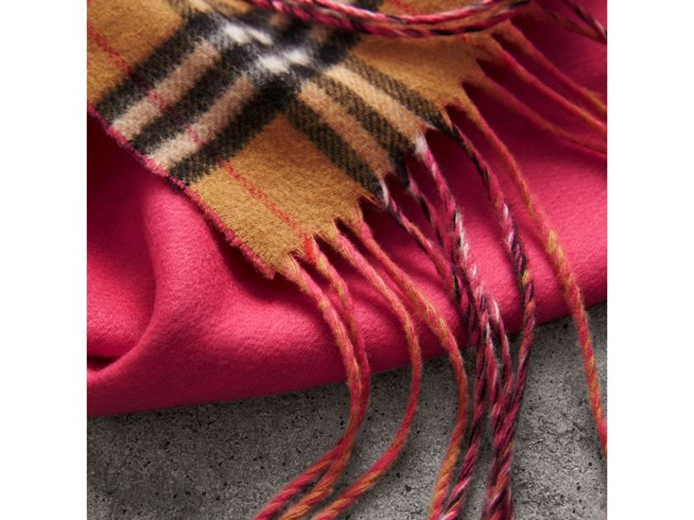 The Burberry Bandana in Vintage Check and Neon Cashmere in Bright Peony | Burberry United Kingdom - cell image 1