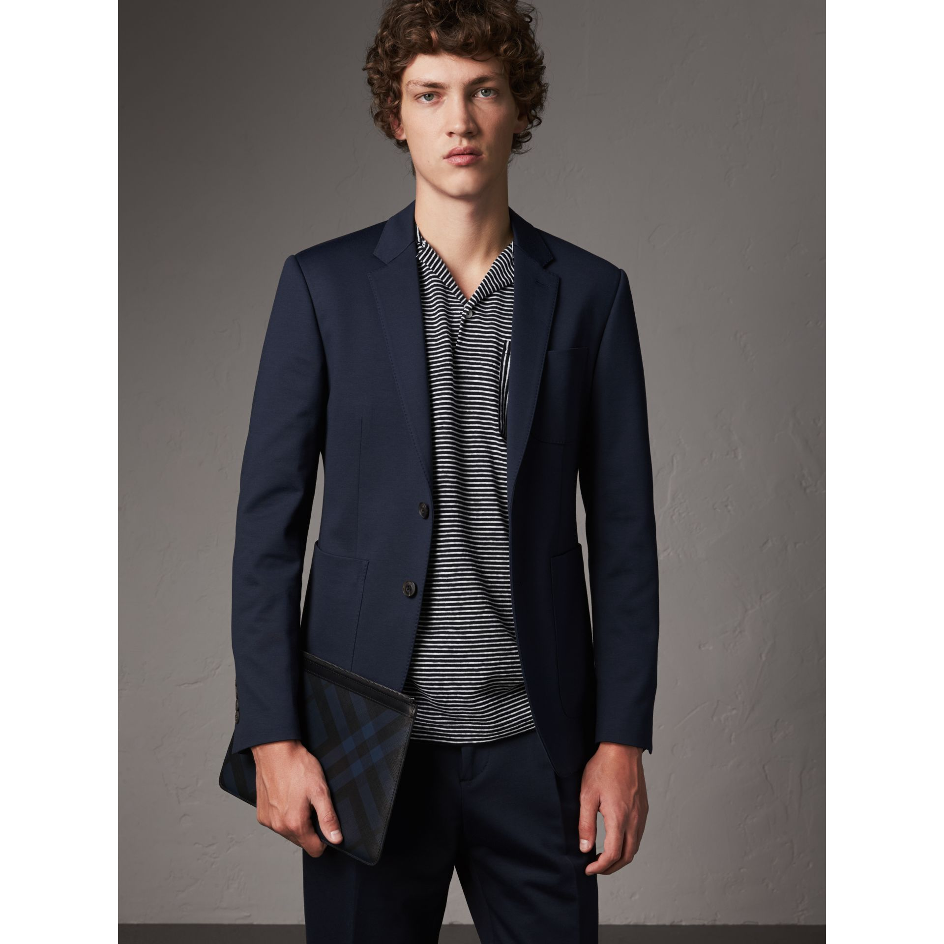 Slim Fit Cotton Blend Travel Tailoring Suit in Navy - Men | Burberry - gallery image 7